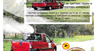 Обавештење о акцији сузбијања комараца у општини Бечеј