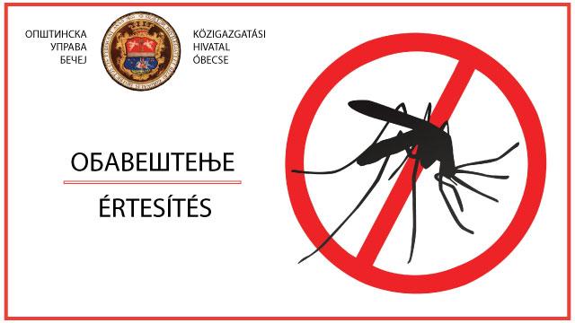 Општина Бечеј: Oбавештење о сузбијању адултних форми комараца на територији општине Бечеј